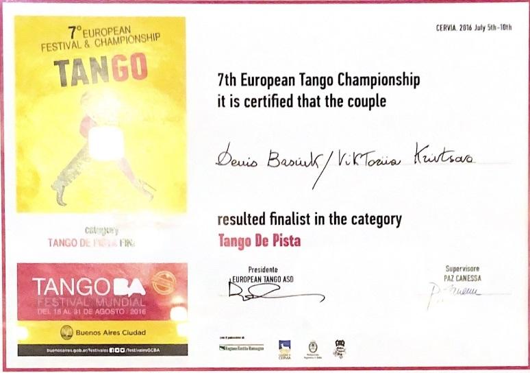 certificat european tango champ Basyuk